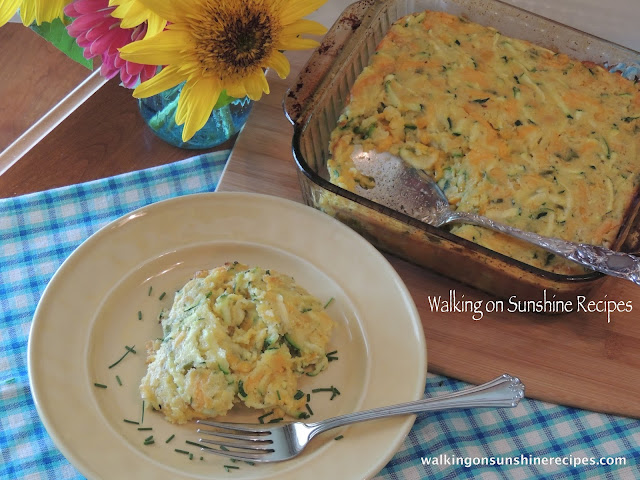 An easy recipe to help you with the zucchini growing in your garden is this zucchini corn casserole from Walking on Sunshine.