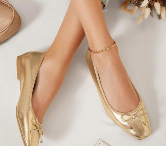 ballerines femme dorées