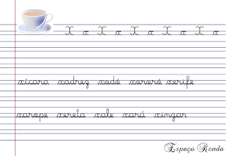 caderno de caligrafia letra X