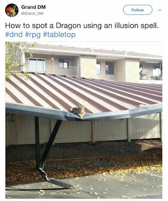 photo of cat on crumpled carport roof, right over sag and bent support post, captioned 'how to spot a Dragon using an illusion spell'