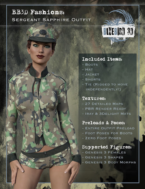BB3D Fashions: Sergeant Sapphire for Genesis 3 Female