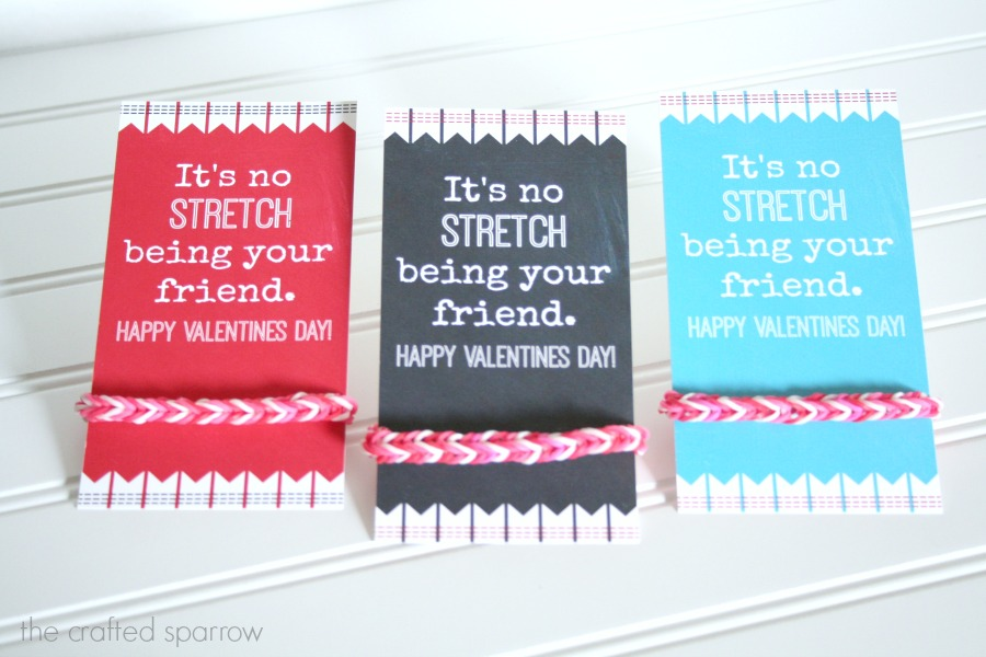 It's no STRECH being your friend. LOOM bracelet Valentine idea with free printable!