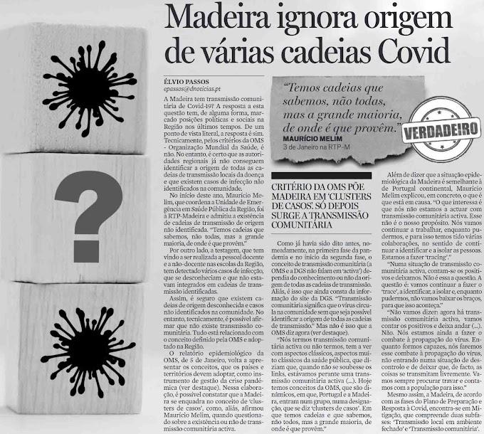 Covid-19: a Madeira já está em transmissão comunitária.