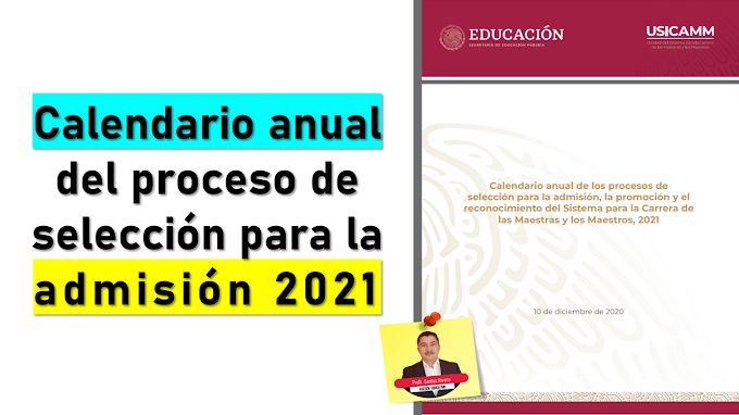 Calendario anual de los procesos de selección 2021