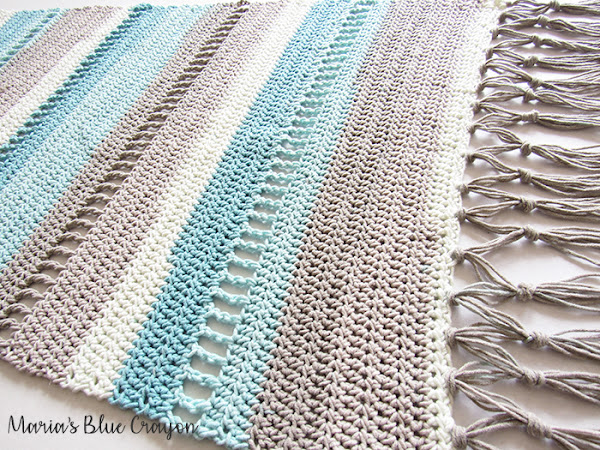 Coastal Indoor Rug - Free Crochet Pattern made with Caron Cotton Cakes