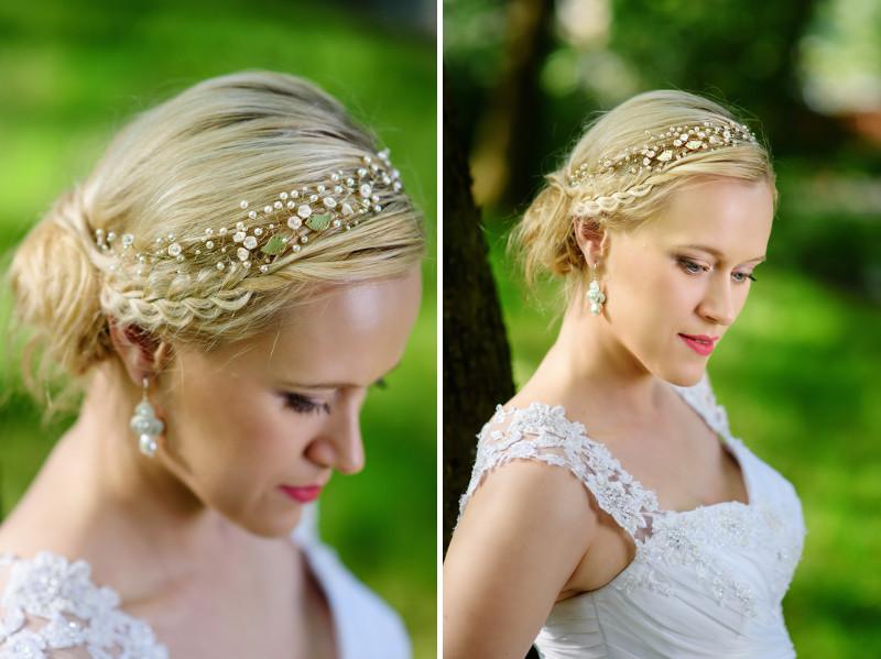 Wianek ślubny z perłami.
