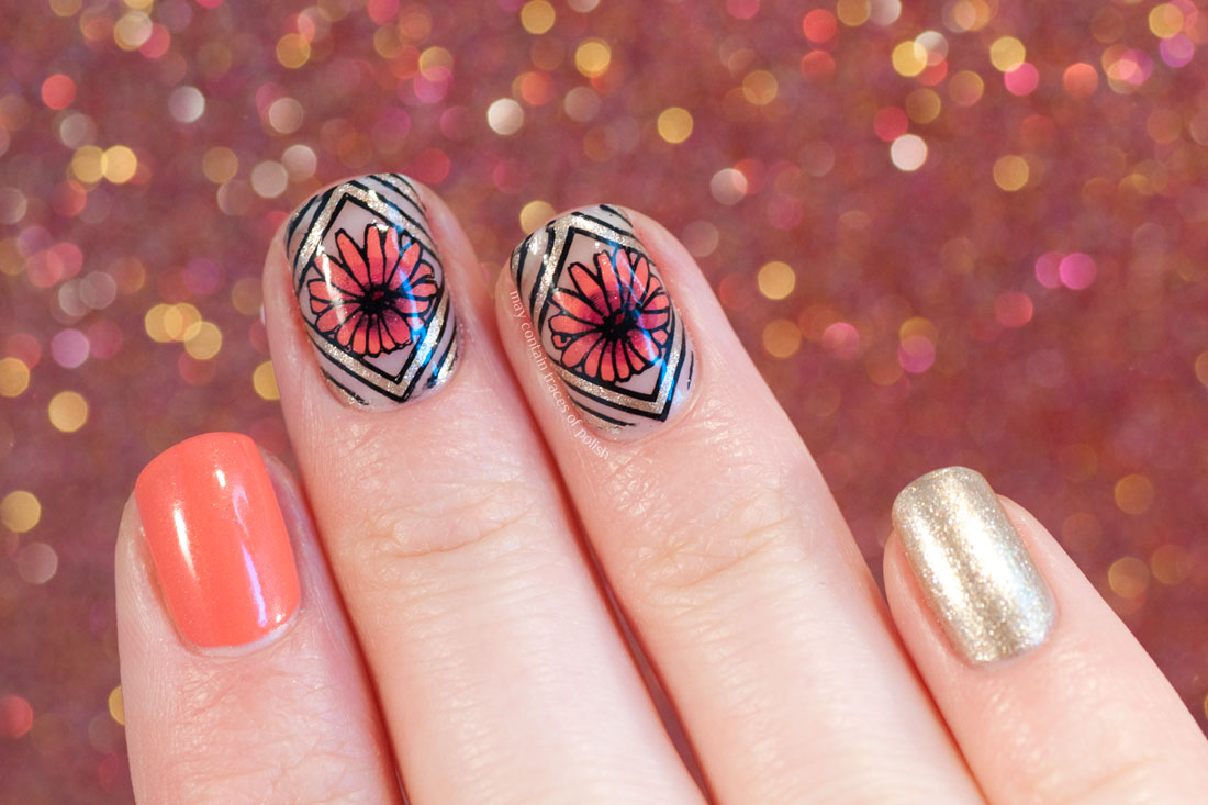 Geometric Floral Nail Art with OPI and MoYou Flower Power 21.