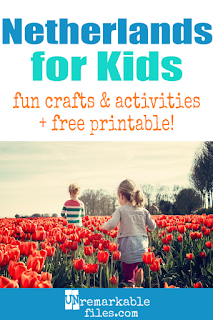 Join us on our educational trip around the world – the kids are learning all about the Netherlands (Holland) this week. Use these free recipes, educational crafts, and facts in your homeschool or classroom! We study the map, create the flag, paint tulips, build windmills, and more to learn all about the culture and people of the Netherlands. #holland #netherlands #dutch #educational
