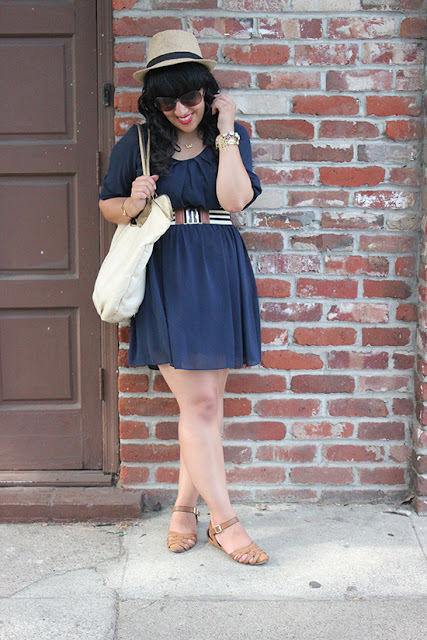 BYER CA Navy  Chiffon Dress Blogger Outfit