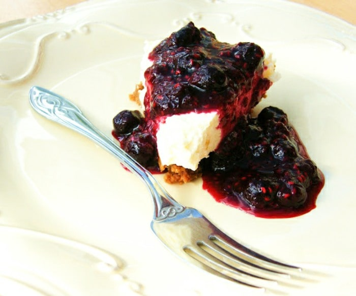 Lemon Cheesecake with a Blueberry & Raspberry Compote
