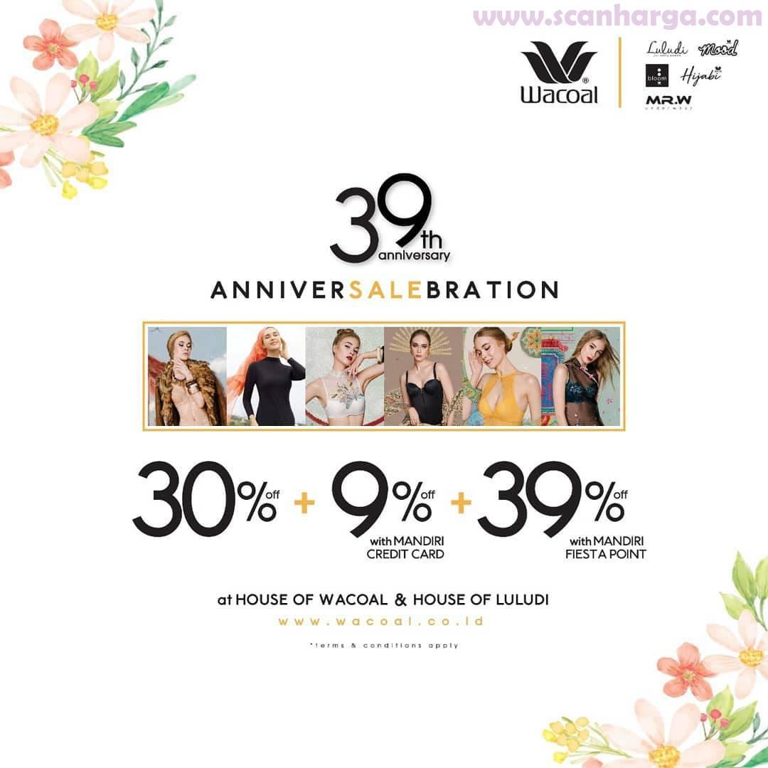 Wacoal Promo Anniver Sale Bration – Discount 9% Off with Mandiri Credit Card + 39% Off with Mandiri Fiesta Point