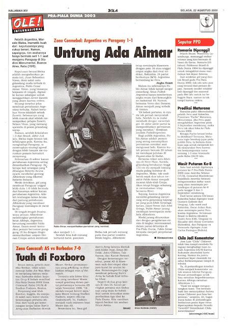 PRA-PIALA DUNIA 2002: ZONA CONMEBOL ARGENTINA VS PARAGUAY