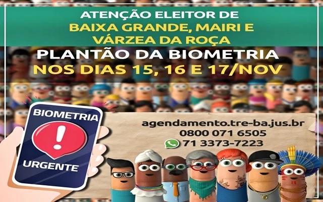 Convocação dos eleitores para o PLANTÃO DE RECADASTRAMENTO BIOMÉTRICO há ocorrer nos dias 15.11.2019 a 17.11.2019, das 08h às 14h, no Cartório Eleitoral desta 86ª Zona, situada do Fórum de Mairi, e nos Postos de Atendimento de Várzea da Roça e Baixa Grande.