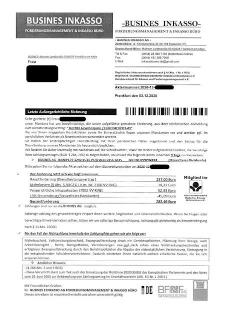 "Scan: Forderung ""Busines Inkasso AG"" / Dez 2020"