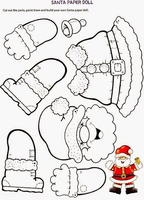 Papá Noel articulado para colorear