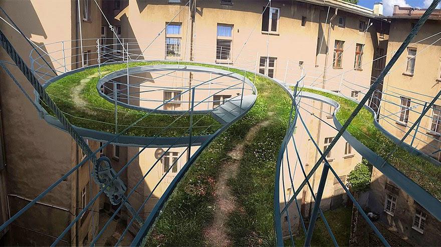 Puente colgante en edificios con conciencia ecológica
