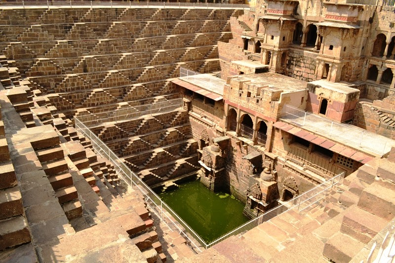 Chand Baoli - intricately carved step well Rajasthan India