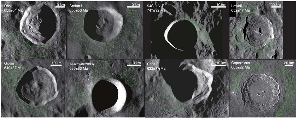 Oito crateras lunares