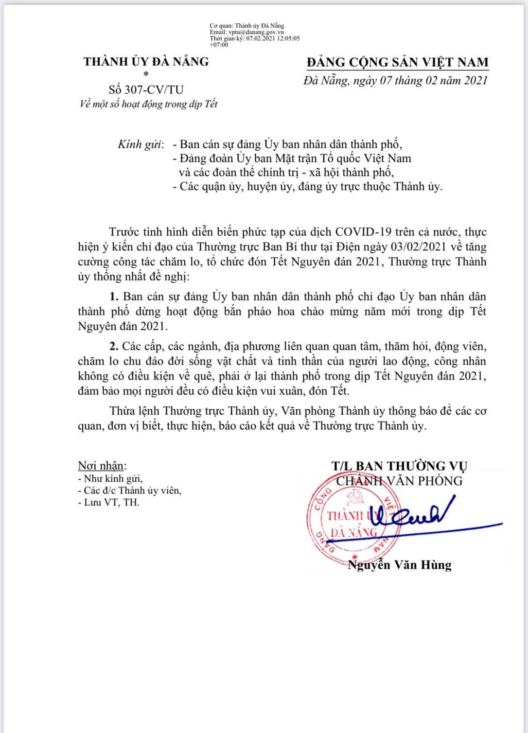 Đà Nẵng tạm dừng hoạt động bắn pháo hoa giao thừa Tết Nguyên đán 2021