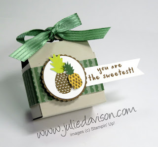 Stampin' Up! Fruit Basket Tutti Fruitti Tag Topper Treat Box + VIDEO Tutorial ~ 2018 Occasions Catalog ~ www.juliedavison.com
