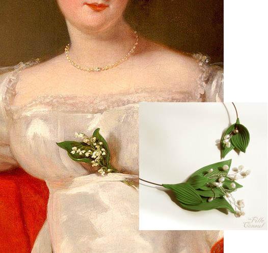 Collier de muguet La fille du Consul, en perles d'eau douce et Argile de polymère