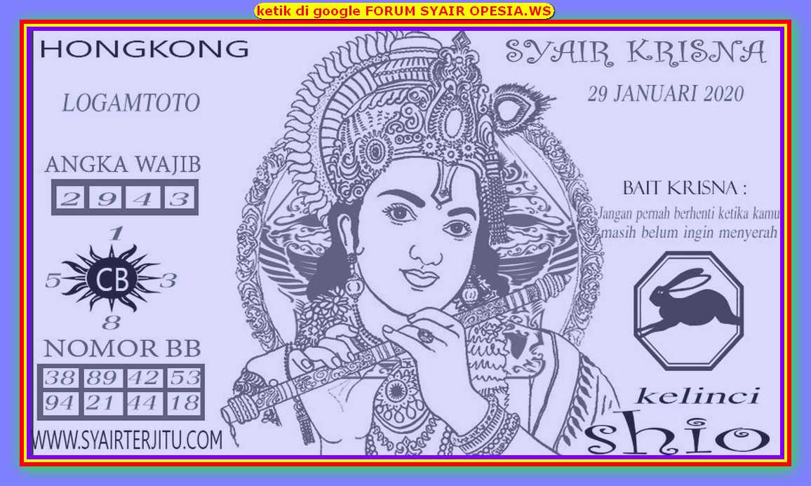 Kode syair Hongkong Rabu 29 Januari 2020 166