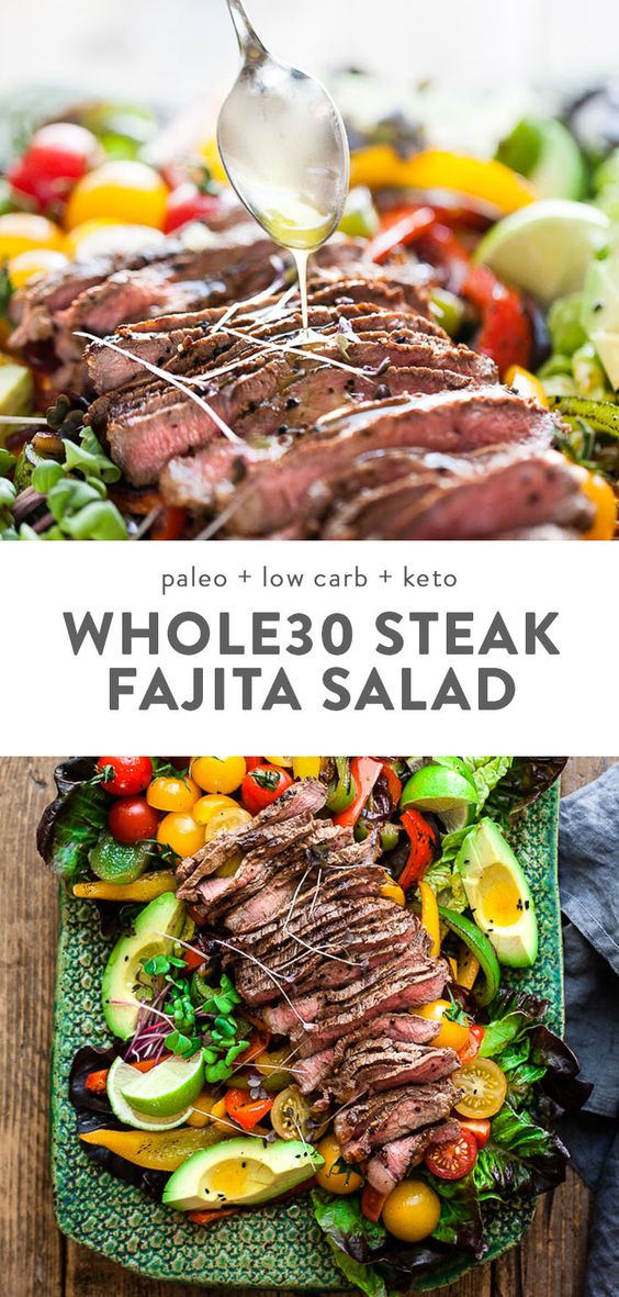 Fajita Salad with Steak (Whole30, Low Carb, Keto)