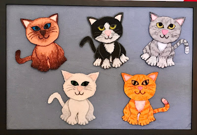Five little kittens felt pieces