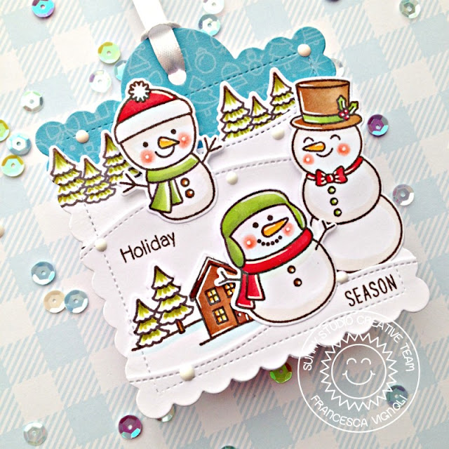 Sunny Studio Stamps: Scalloped Tag Dies Feeling Frosty Woodland Borders Scenic Route Christmas Gift Tags by Franci Vignoli