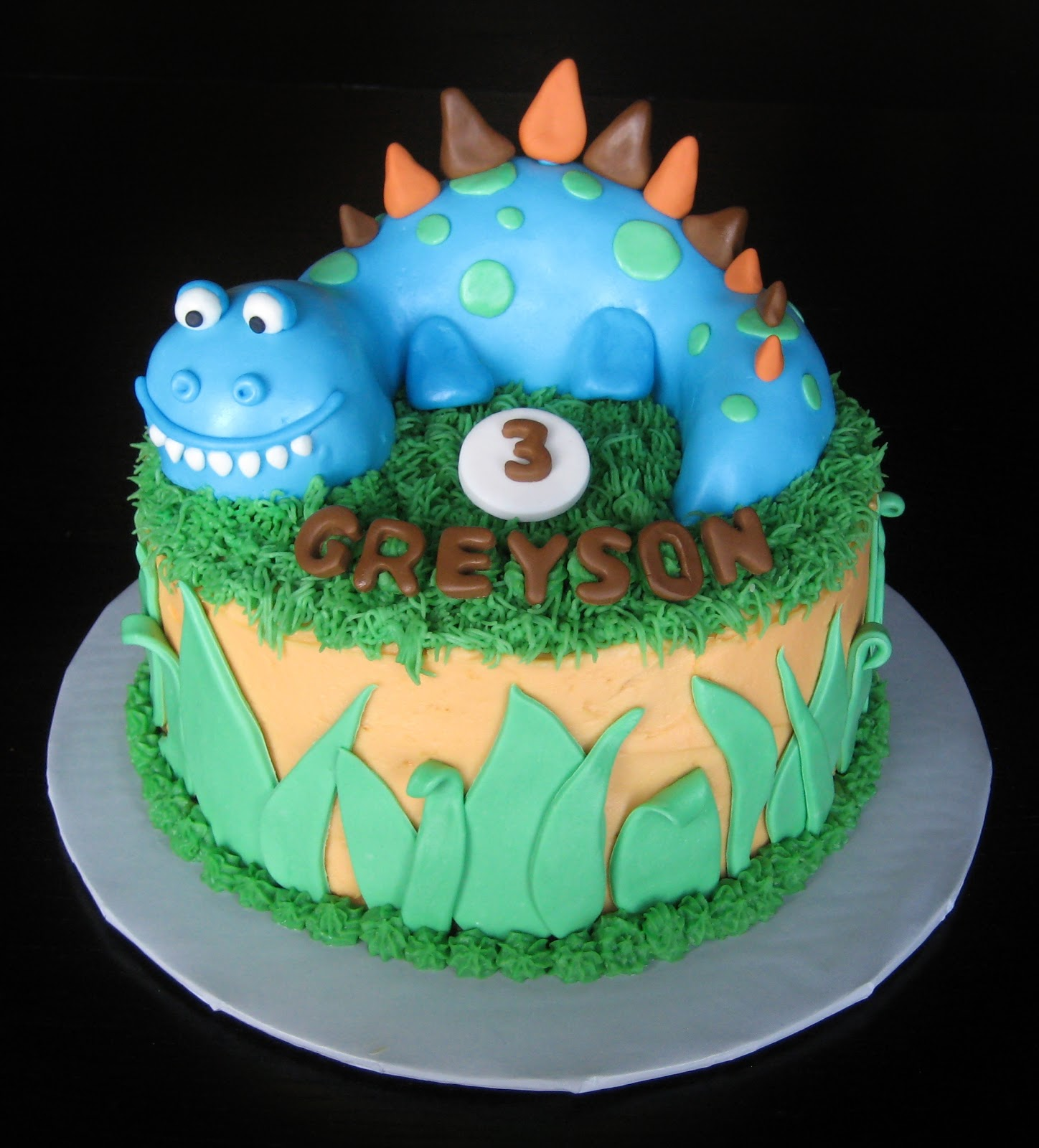 Tiered Dinosaur Birthday Cake With Waterfall