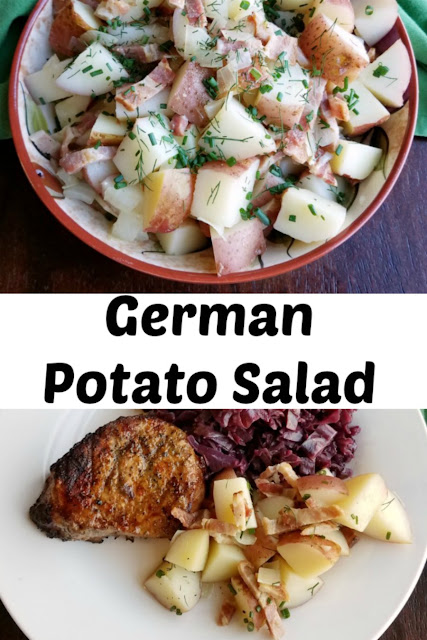 German potato salad served warm with plenty of bacon and a zingy vinaigrette is the perfect side dish to so many meals. It is simple to make too!