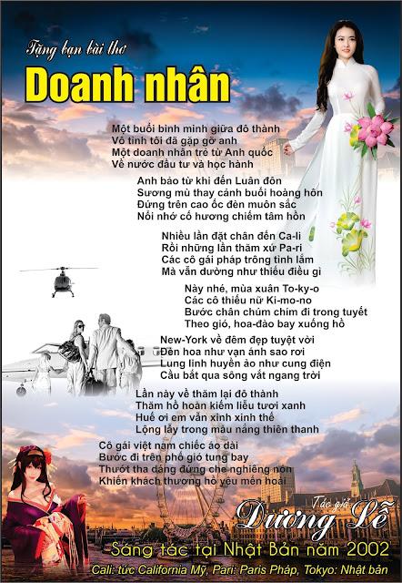 Bài thơ Doanh nhân của tác giả Dương Lễ tại Nhật Bản năm 2002 - thơ tình dương lễ, bài thơ doanh nhân