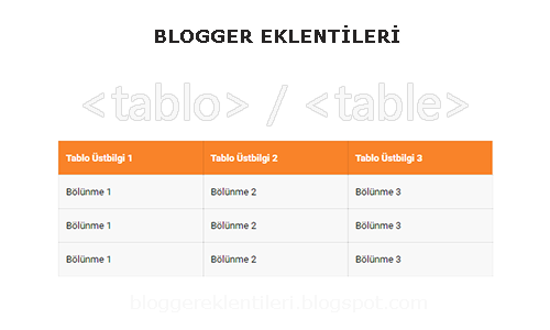 Blogger Tablo / Table Nasıl Oluşturulur?