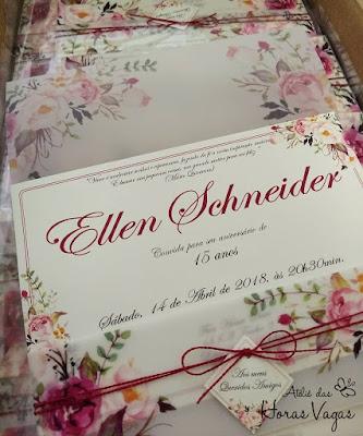 convite de anviersário de 15 anos especial artesanal personalizado estampa floral aquarelado vermelho marsala bordô envelope vegetal luxo sofisticado delicado casamento wedding