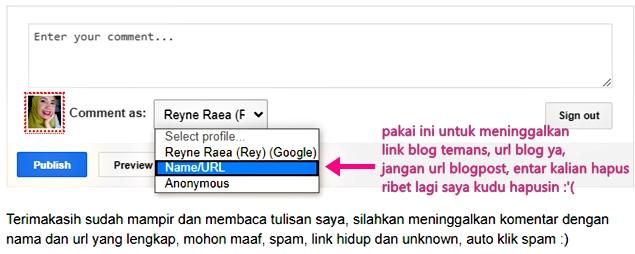 cara meninggalkan url blog di kolom komentar blog orang