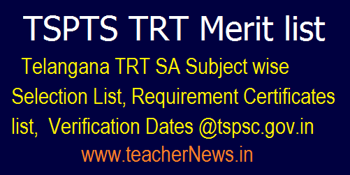 Telangana TRT SA Selection List for Certificate Verification Dates @tspsc.gov.in