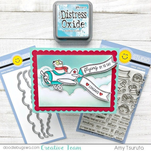 Sunny Studio Stamps: Plane Awesome & Fluffy Clouds Border Dies Customer Card by Amy Tsuruta