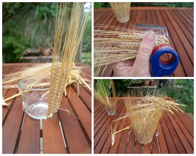 DIY Teelichtglas mit Ähren bekleben