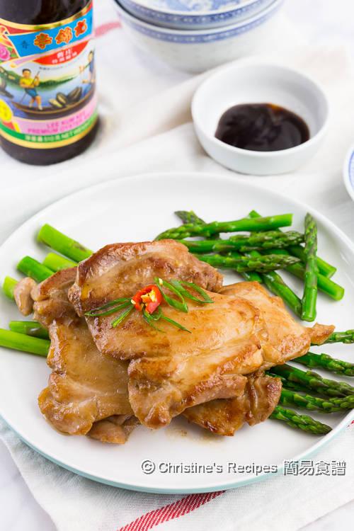 蠔油雞扒配露荀【簡易醃肉妙法】 Pan-fried Oyster Sauce Chicken Thigh   簡易食譜 - 基絲汀: 中西各式家常菜譜