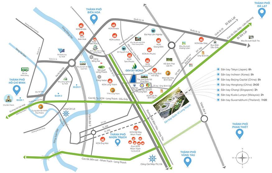 Nhà phố thương mại Gem Sky World tọa lạc tại vị trí vàng kết nối giao thông linh hoạt