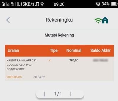 verifikasi rekening bank dari google adsense - cek mutasi adsense mobile banking