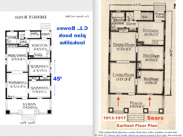 side by side comparison of floor plans of Sears Winona and lookalike plan book model by C. L. Bowes