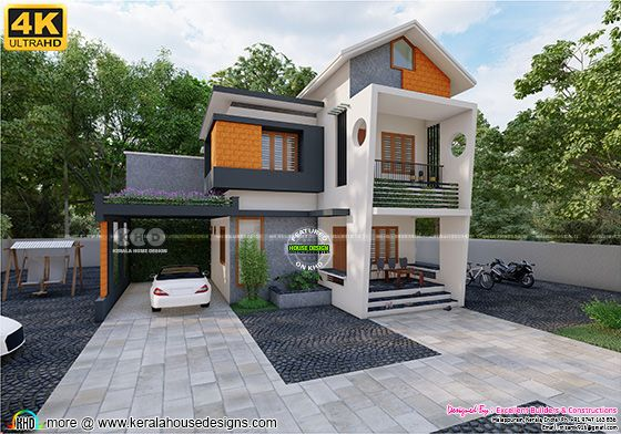 Mixed roof Kerala home design