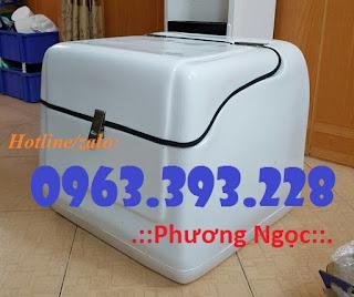 Thùng giao hàng gắn sau xe máy, thùng chở hàng nhựa composite Trung