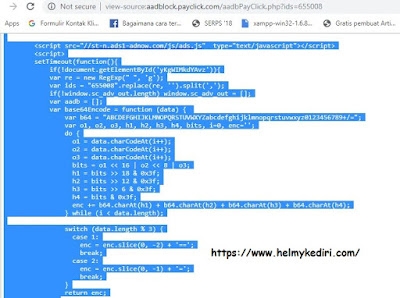 Cara pasang script anti adblock iklan adnow