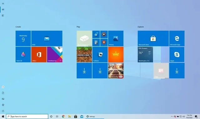 How to open the Start menu in full screen mode on a Windows 10 computer