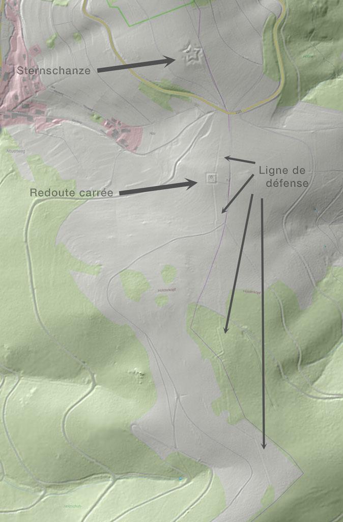 Sternschanze et Redoute carrée, Neuenweg. LIDAR, Geoportal BW adapté par DR Balliet JM