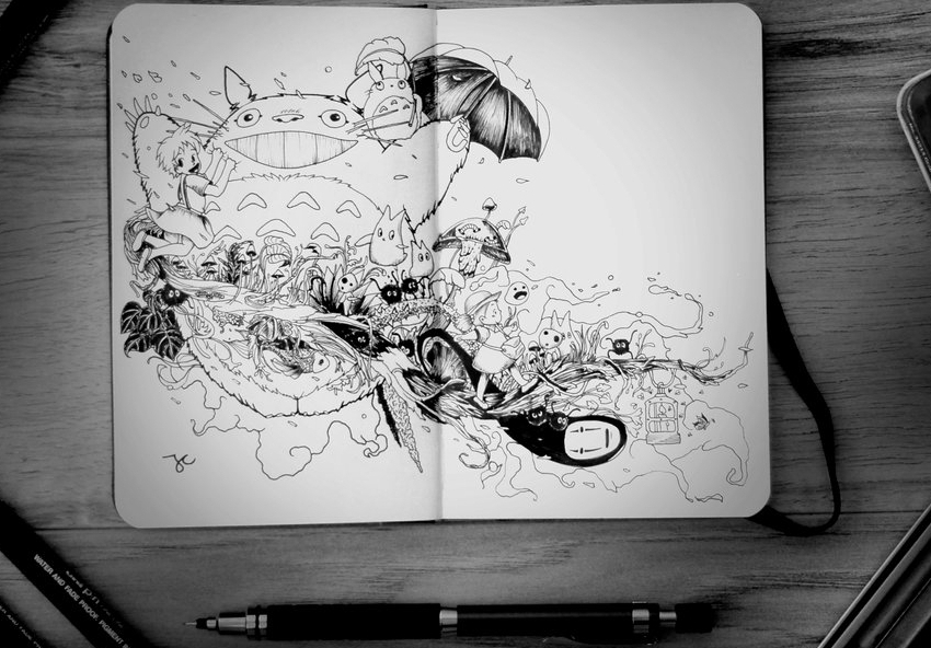 22-Stroll-in-the-Woods-Joseph-Catimbang-Pentasticarts-Metaphysical-and-Surreal-Doodle-Drawings-www-designstack-co