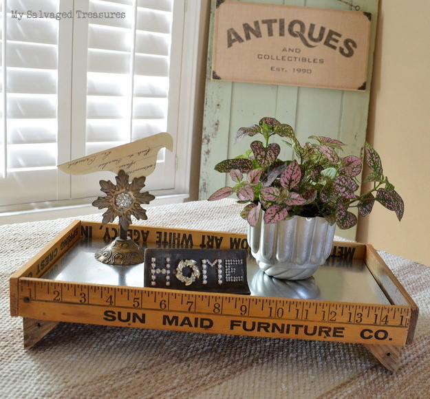 rustic crate made with old yardsticks, sheet metal, and crate