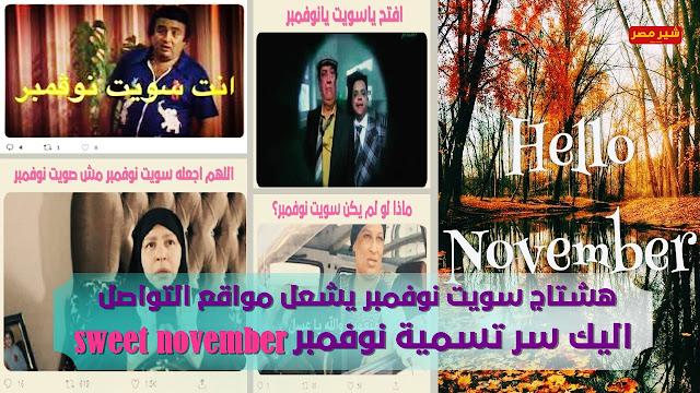 """سويت نوفمبر تتصدر التريند """"sweet November"""" - سر تسمية sweet november بهذا الاسم - صور شهر نوفمبر"""